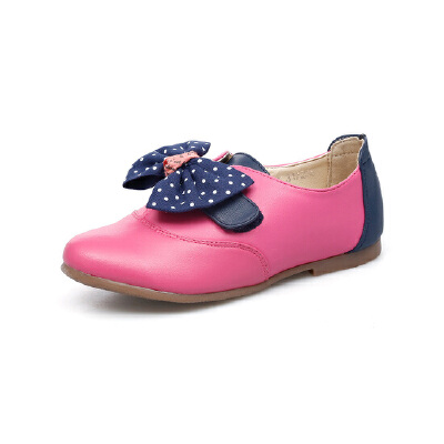 比比我童鞋2017新款女童单鞋秋季中童公主鞋平底学生贴布蝴蝶结鞋韩版小皮鞋