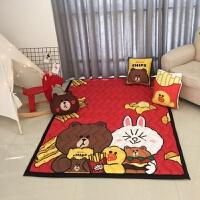 全棉宝宝地垫儿童爬行垫加厚爬爬垫婴儿地毯卧室折叠机洗家用客厅 桔色 薯片熊S+抱枕