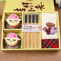 礼潮创意新款小美羊毛巾陶瓷碟筷餐具套装婚庆回礼节日礼品伴手礼