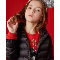 【满1000减750】米喜迪mecity童装儿童冬装红色连帽轻薄短款女童羽绒服