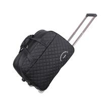 男女士可叠旅行包 可手提防水拉杆包旅行袋容量牛津布软包 黑色 +精致密码锁