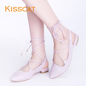 KISS CAT潮流交叉绑带芭蕾鞋尖头羊皮平底女单鞋DA76117-52