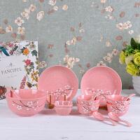 创意釉下彩日式雪花简约碗碟套装陶瓷家用组合多人餐具碗筷碗盘勺