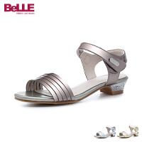 百丽Belle童鞋18夏季新款儿童凉鞋中大童时尚金属色公主鞋女童透气学生鞋 (9-13岁可选) DE0651