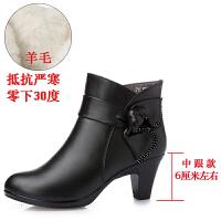 冬季新款棉鞋真皮短靴羊毛保暖女式加绒中跟妈妈鞋高跟棉皮鞋女鞋SN2833