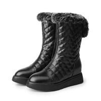兔毛雪地靴女皮面防水平底内增高中筒靴短靴加厚棉靴冬季加绒女鞋 黑色