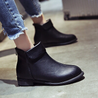 马丁靴女2018新款保暖靴子女冬加绒瘦瘦靴百搭短筒粗跟切尔西短靴 黑色 (加棉)切尔西靴