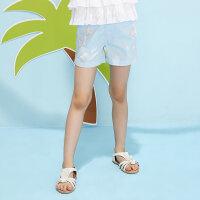 【2件1.5折价:23.9,可叠券】moomoo童装女童牛仔短裤新款夏季绣花时尚潮中大儿童裤子棉