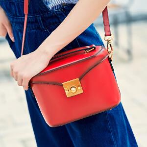 莫尔克MERKEL新款斜挎包女牛皮休闲复古手提包时尚百搭水桶包