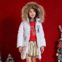 【2件3折到手价:178.5】moomoo童装女童羽绒服长款新款冬季连帽韩版洋气中大儿童外套