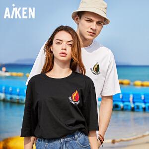 Aiken爱肯2018夏季新品情侣T恤图案半袖绣花简约学生纯棉情侣体恤