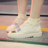 2018冬季新款韩版百搭ulzzang休闲学生加绒板鞋小白山本风帆布鞋 米白色 加绒