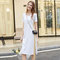 【券后预估价:115元】Amii极简小清新短袖连衣裙夏季新款拼接撞色宽松过膝中长裙子