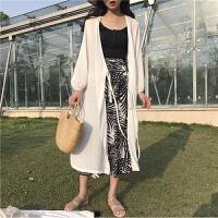 防晒衣女中长款2018夏季沙滩海边度假雪纺开衫外塔披肩薄韩版外套 白色 均码