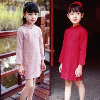 女童旗袍春秋小女孩纯棉蕾丝旗袍裙儿童民族风唐装宝宝连衣裙童装