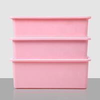 【名迪】加厚塑料内衣收纳盒三件套文胸袜子内裤收纳箱有盖整理盒 三件套粉色(白色盖子)