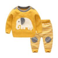 男婴儿秋装毛衣套装针织衫男童装宝宝开衫春秋季外套外出衣服套装 吉祥象 黄