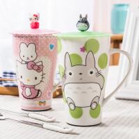 创意陶瓷杯子 大容量马克杯咖啡杯情侣杯早餐牛奶杯麦片水杯带盖勺