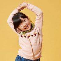 【1件3折�r:54,可�B券】moomoo童�b女童毛衣2020新款�和�毛衫春秋款��s毛球套�^毛衫