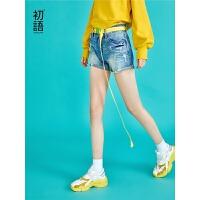 初语 破洞牛仔短裤新款宽松阔腿显瘦韩版休闲高腰热裤女夏装