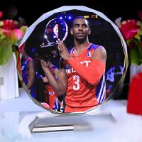 款 水晶相框 克里斯 保罗海报水晶纪念品 快船队篮球迷创意男女生日礼物礼品 +底座刻字