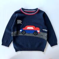 秋冬季男童圆领蓝色纯棉针织衫加厚保暖毛衣宝宝卡通小汽车套头衫