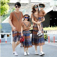 家庭亲子装新款波西米亚风T恤短袖2件套装母女装母子装父子父女装