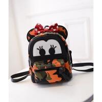 韩版时尚米奇pu双肩包女卡通休闲小背包学生支持 桔色