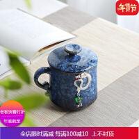 景德镇窑变镶银创意泡茶杯陶瓷家用带盖过滤喝茶杯子办公杯老板杯 自店营年货
