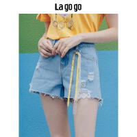 【5折价108】Lagogo/拉谷谷2018年夏季新款时尚个性韩版女牛仔短裤HANN135A47