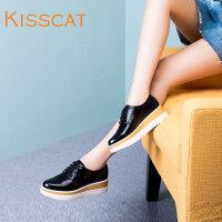 接吻猫牛皮系带松糕鞋圆头小白鞋英伦厚底女单鞋DA85699-51