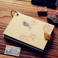 手绘空白创意笔记本复古邮戳剪贴本贴照片牛皮纸文具活页夹