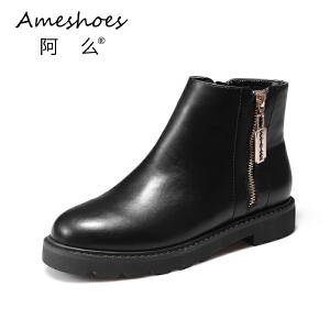阿么秋冬英伦风低跟防滑短靴女粗跟韩版侧拉链单靴