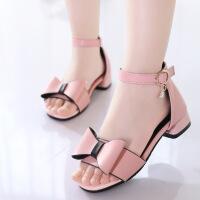 女童凉鞋新款儿童高跟鞋韩版公主鞋夏季中大童漆皮女宝宝凉鞋