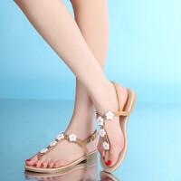 女童平底凉鞋9-11-13-15岁小女孩花朵公主鞋韩版儿童夹趾中大童鞋SN7773