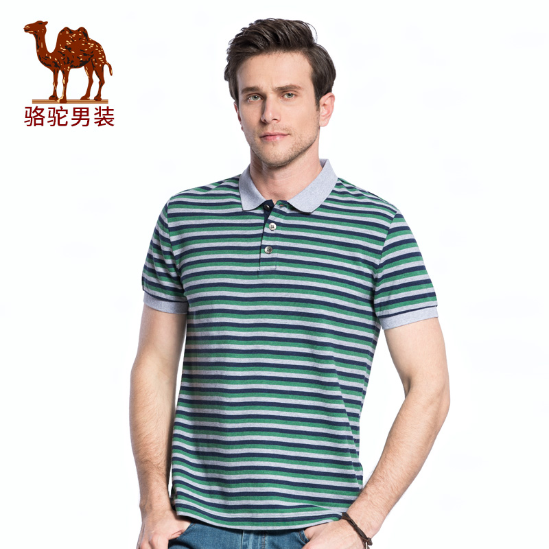 骆驼牌男装 2018夏季新款翻领短袖Polo衫青年潮流休闲男士T恤上衣