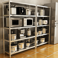 不锈钢厨房置物架收纳整理架置物架层架多层落地微波炉烤箱收纳架