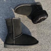 牛皮雪地靴女中筒2018新款纽扣雪地棉女冬季短筒加绒加厚短靴百搭
