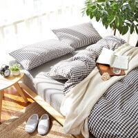 ???北欧水洗棉床上四件套风床单被套全棉少女三件套简约纯棉网红 2.0m(6.6英尺)床 床笠款