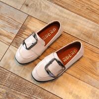 花样童依 2017春季新款儿童浅口小皮鞋女童中童休闲鞋豆豆鞋软底单鞋XSCZ(ZPF)