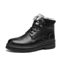 雪地靴男冬季保暖加绒棉鞋黑色高帮马丁靴潮短靴子 黑色