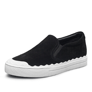 【小白鞋休闲】意尔康女鞋2018春秋季新款圆头平跟套脚一脚蹬女士单鞋