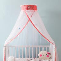 婴儿床蚊帐儿童BB宝宝蚊帐落地式可升降带支架蚊帐罩通用公主开门