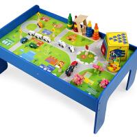 儿童早教拼装木质积木玩具台火车轨道积木游戏桌