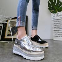 韩版春季新款方头星星系带厚底松糕坡跟休闲鞋单鞋方头布洛克女鞋