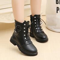 儿童靴子女童鞋冬季2018新款韩版马丁靴公主靴防滑女孩棉靴子