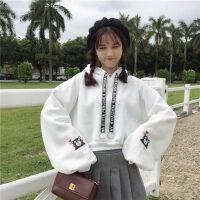 秋季新款韩版原宿bf风宽松连帽泡泡袖卫衣女学生纯色灯笼袖上衣潮