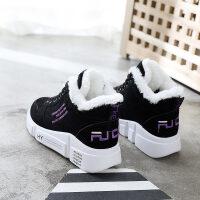 冬鞋女新款加绒冬季运动休闲女鞋韩版百搭学生厚底坡跟鞋子女