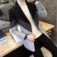 №【2019新款】冬天小个子穿的新款小个子男士中长款毛呢大衣韩版修身小码XS S帅气风衣