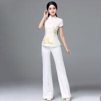 2018新款改良旗袍阔腿裤两件套唐装套装女夏复古中式工作装中国风短袖上衣